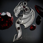 Necklace XAGHNAR DRACO  - Silver and Garnets.