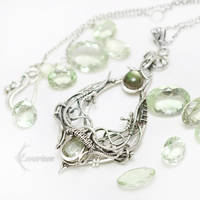 YNNEHTELTH Silver, Green Amethyst,Labradorite by LUNARIEEN