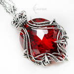 AXERTHRIX Silver and Red Zirconia