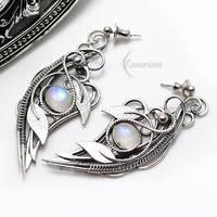 Earrings AXELTIEER - Silver and Moonstone by LUNARIEEN