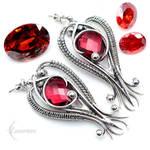 Earrings ENMENTYARAL - Silver and Red Quartz