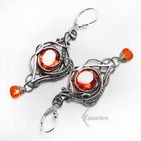 ZARRAHTH Silver and Red Cubic Zirconia by LUNARIEEN
