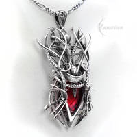 Necklace NAZARNH, Silver and Red Quartz by LUNARIEEN