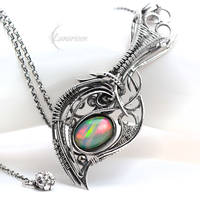 Necklace FTHARIALL - Silver and Opal by LUNARIEEN