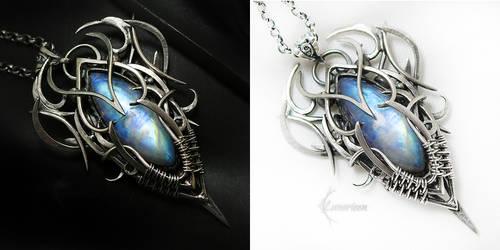 UXARERIEEL Silver, Rainbow Moonstone by LUNARIEEN