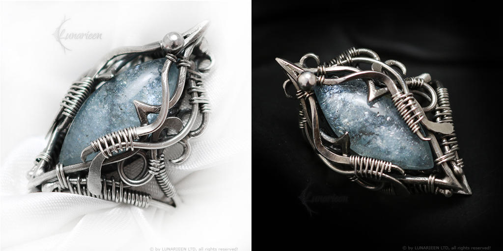 AQAMADERITH gothic style ring with Aquamarine by LUNARIEEN