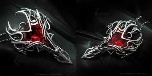 RAHMADARTH Silver and Red Zirconia