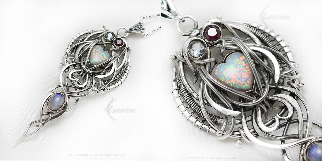 LUNARIRTH Silver,Opal. Aquamarine,Garnet,Moonstone by LUNARIEEN
