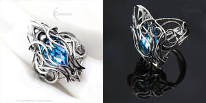 FTHERN ARNGH - Gothic Ring - Silver, Blue Zirconia
