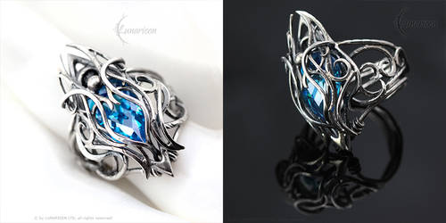 FTHERN ARNGH - Gothic Ring - Silver, Blue Zirconia