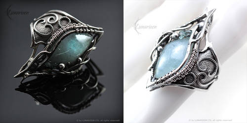 SAGTHIR NHAR - Gothic Ring - Silver and Aquamarine by LUNARIEEN