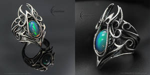 NYFHERN THARII - Gothic Ring - Silver and Opal