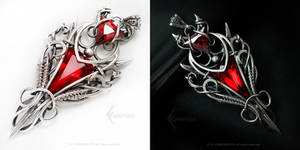 AXAMARDIEEL Silver,Red Quartz and Zirconia