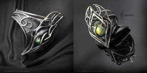 PHANARIALL - Gothic Ring, Silver and Labradorite