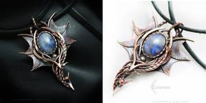 Dragon pendant Copper and Moonstone