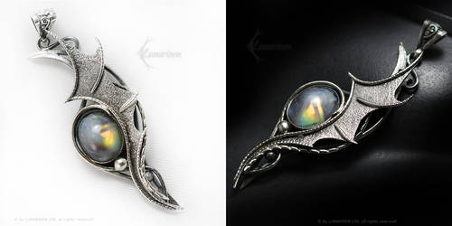 LEERAHT DRACO Silver and Rainbow Moonstone