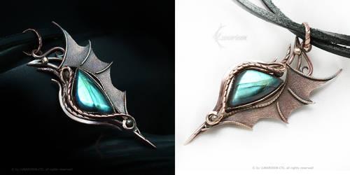 Dragon Pendant Copper and Labradorite