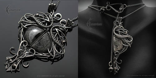 SENHDRIEEL - set, silver and black coral by LUNARIEEN