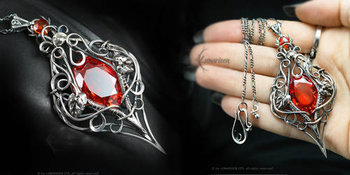 MILTREAERLH Silver and Red Zirconia by LUNARIEEN