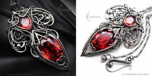 RYTHERIALL - Silver and Red Zirconia by LUNARIEEN