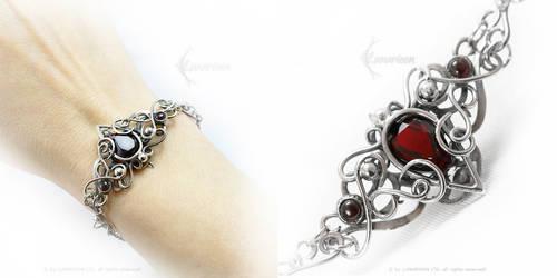 UTARIEELH Silver, Red Quartz, Garnet by LUNARIEEN