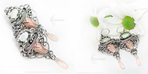 LIARRENTILTH Silver, Pink Opal, Green Amethyst by LUNARIEEN