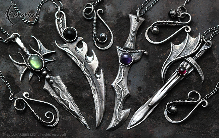 Gothic style silver necklaces, swords by LUNARIEEN