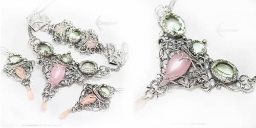 Wedding Set Silver, Green Amethyst, Chalcedony by LUNARIEEN