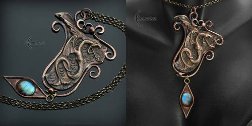 FYNDRIELL DRACO - Gothic, dragon style necklace by LUNARIEEN
