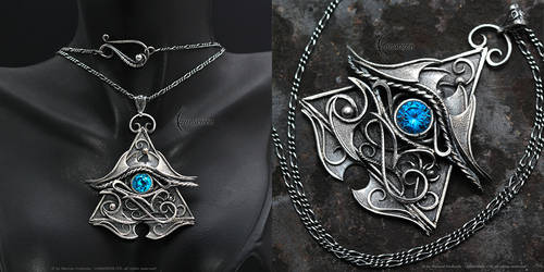 FHERNX EYE OF HORUS - Silver and Blue Zirconia