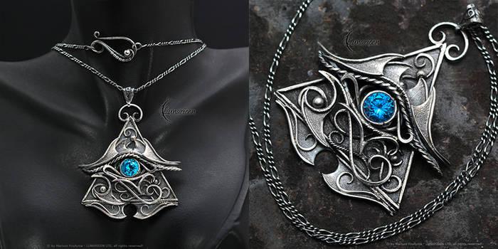 FHERNX EYE OF HORUS - Silver and Blue Zirconia