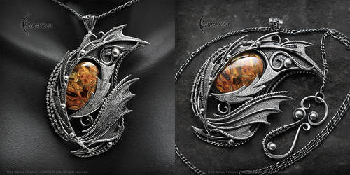 VAQERIEEL DRACO - gothic style silver necklace
