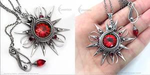 FERRALYTH FIRE RED SUN - Silver necklace