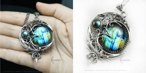 LUNNEAH ARVATH GREEN MOON Silver and Labradorite
