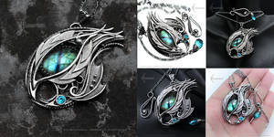 XAVNRAAL DRACO - Silver nacklace, Dragon's Eye