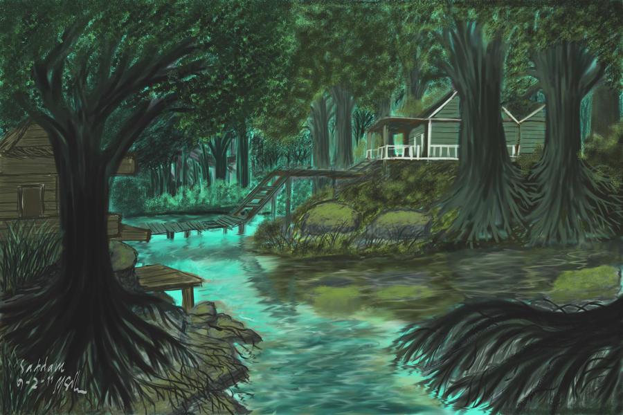 rumah di tengah hutan  by combpank on DeviantArt