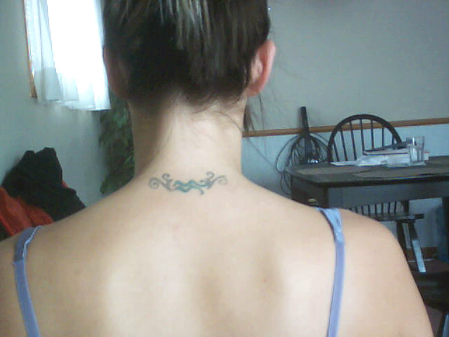 back of the neck tattoos. hot neck tattoo ideas. britney