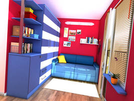 Red room with blue sofa by zeravla