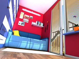 Red room with blue sofa 02 by zeravla