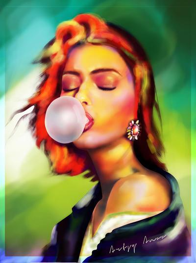 Bubble gum girl. by Adaraalayna