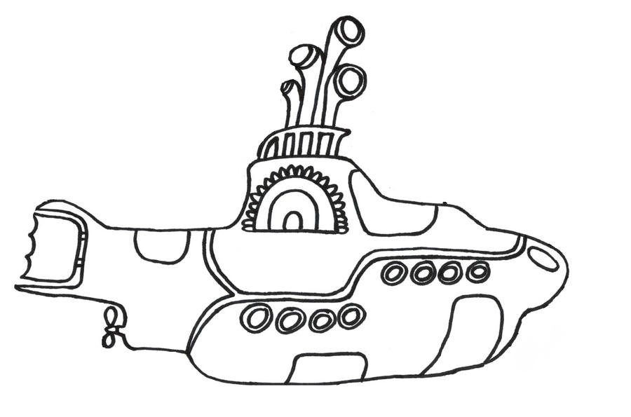 yellow submarine and coloring pages   Outline Of Yellow Submarine by PeanutOwl on DeviantArt