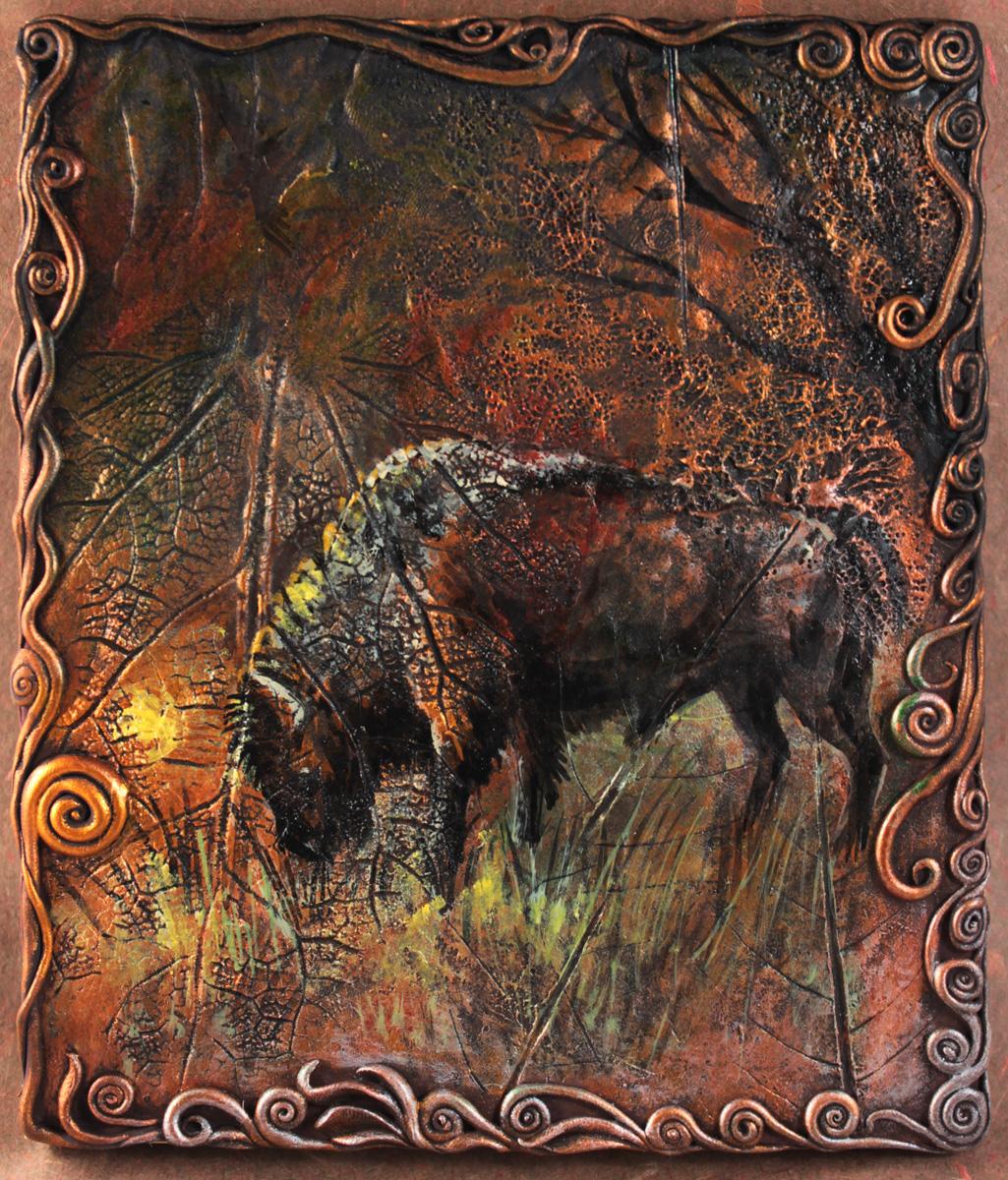 Bison in prairie by hontor