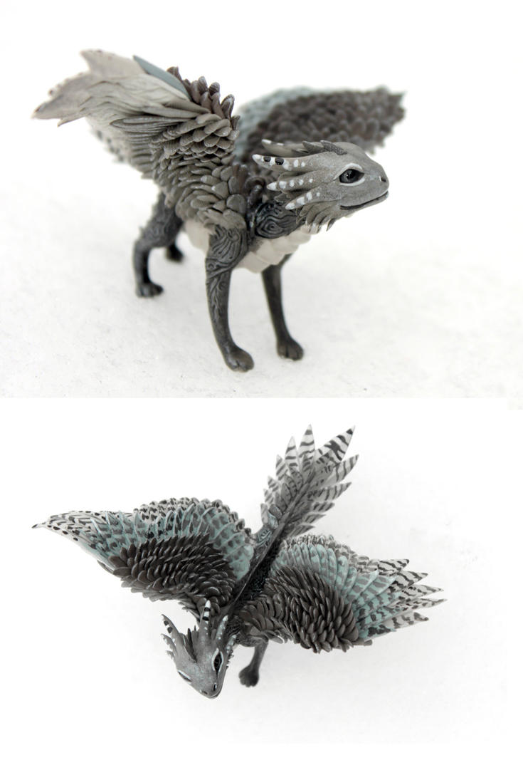 Silver Falcon Dragon - grey cute creature by hontor