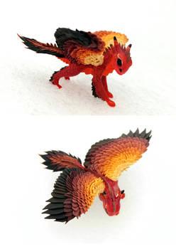 Fire Hawk Dragon - red cute creature by hontor