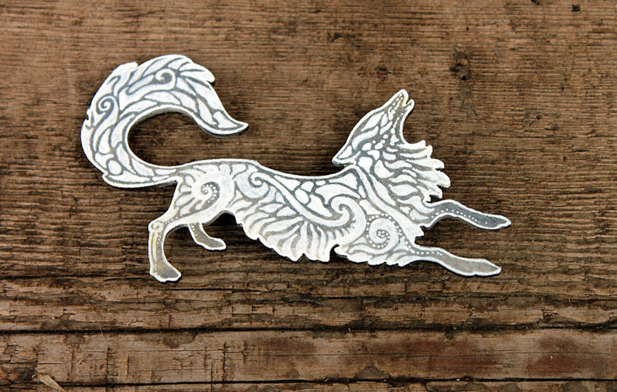 White Fox brooch by hontor