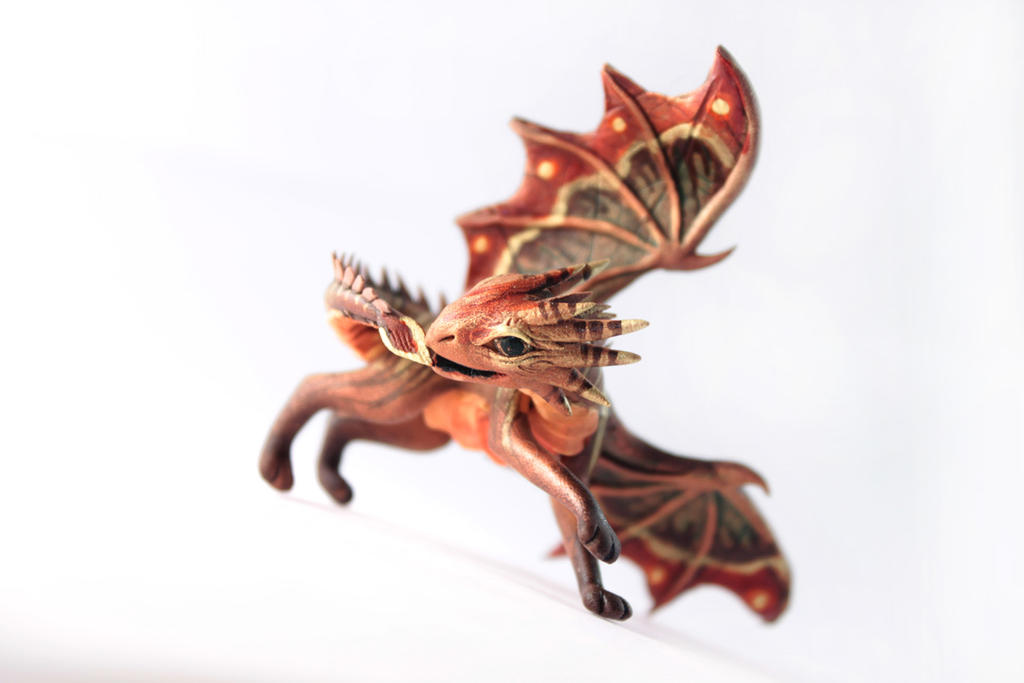 Playful dragon Irich - brown cute dragon by hontor