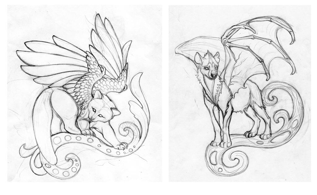 Red panda and Hyenadragon sketches by hontor on DeviantArt