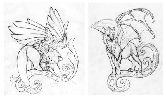 Red panda and Hyena-dragon sketches
