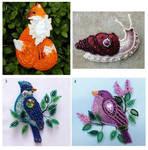 Felt brooches - kitsune, snail and birds