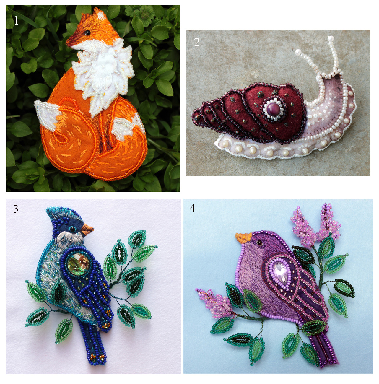 Felt brooches - kitsune, snail and birds by hontor